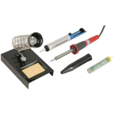 Soldering Set inc 30w 230v Solder Iron / Desoldering Pump / Stand & Solder
