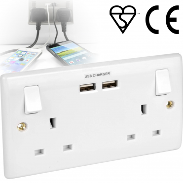 UK Double Socket USB 13A 2 Gang Electric Wall Socket Faceplate + 2 USB Outlets