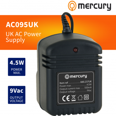 UK Plug-In Power Supply 9V AC 500ma with 2.1mm Plug 4.5W Max Output