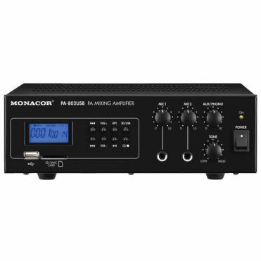 PA-802USB Mono PA Mixing Amplifier with Integrated MP3 Player USB & SD Card Slot