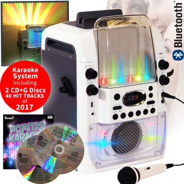 Bluetooth Light Up Party Karaoke Machine Inc 2 Microphones and 2 CD+G Discs