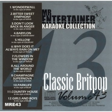 Karaoke CDG CD - Classic Britpop CD+G Disc