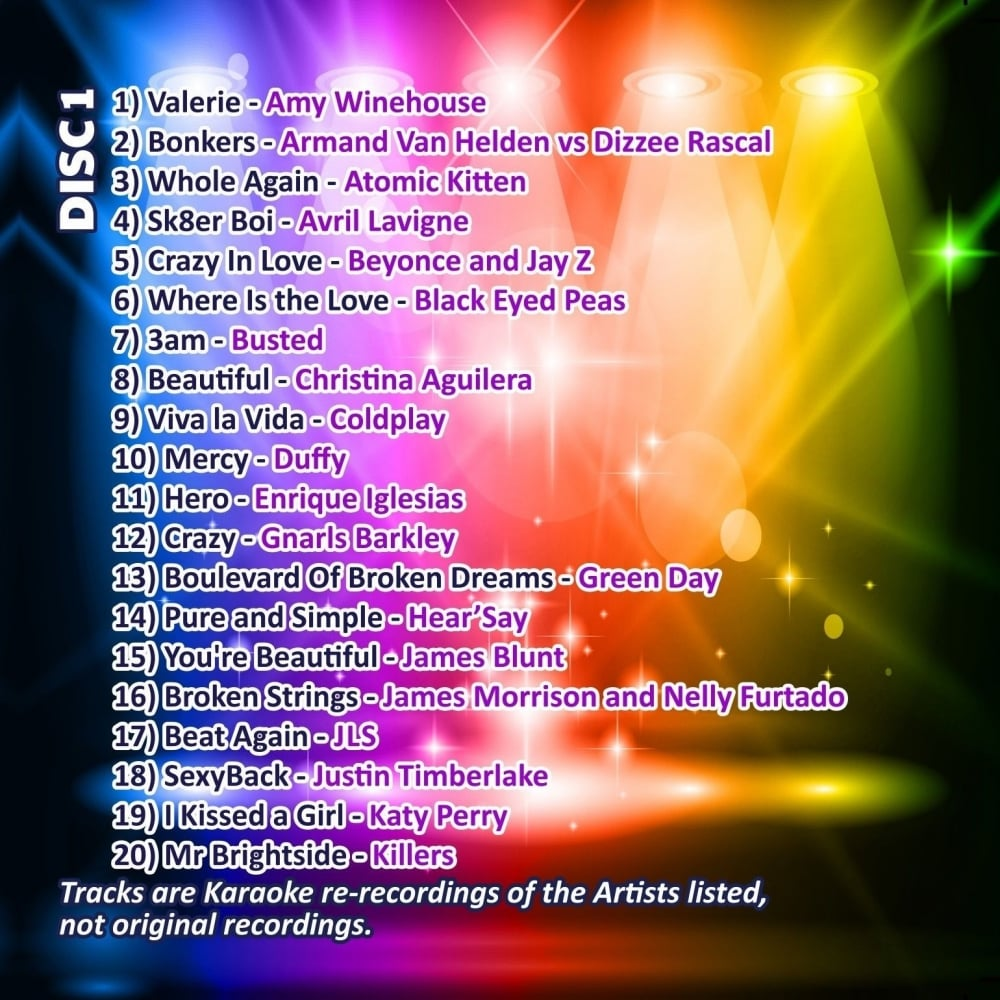 Karaoke CDG - The Big 00's Hits - Double Noughties CD+G Discs