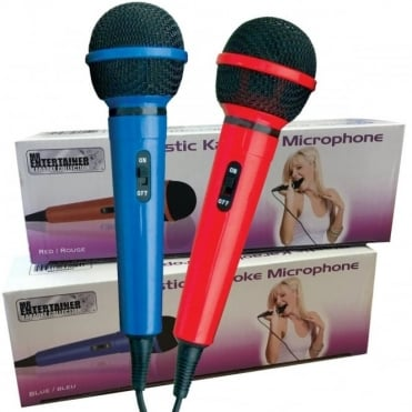 Red & Blue Twin Handhead Dynamic Microphone Pack with Integral Leads Vocal Karaoke