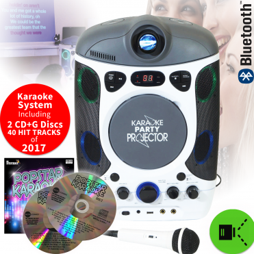 Wall Projection Karaoke Machine LCD Projector LED Lights Inc 2 CD+G Discs