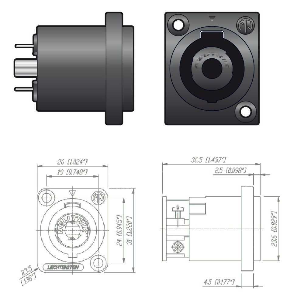 Neutrik NL4MP 4 Pole Male Speakon Chassis Connector