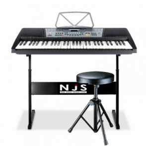61 Key Full Size Digital Electronic Keyboard Kit Inc Stand, Stool & Headphones