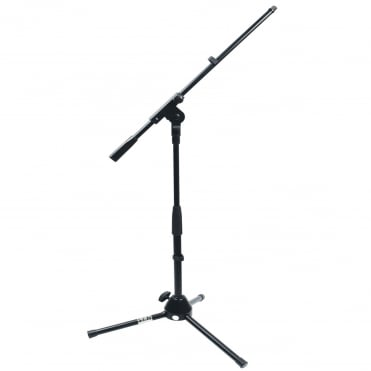 Black Low Level Microphone Stand With Tripod Legs and Adjustable Boom Arm
