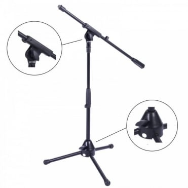 Black Microphone Stand With Tripod Legs and Adjustable Boom Arm