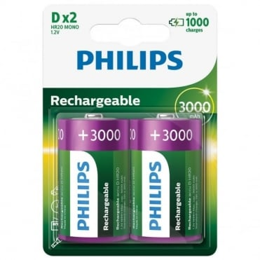 2 D Type 3000mAh NiMH Rechargeable Batteries - Battery Pack of Two