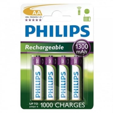 4 AA 1300mAh NiMH Rechargeable Batteries - Battery Pack of Four