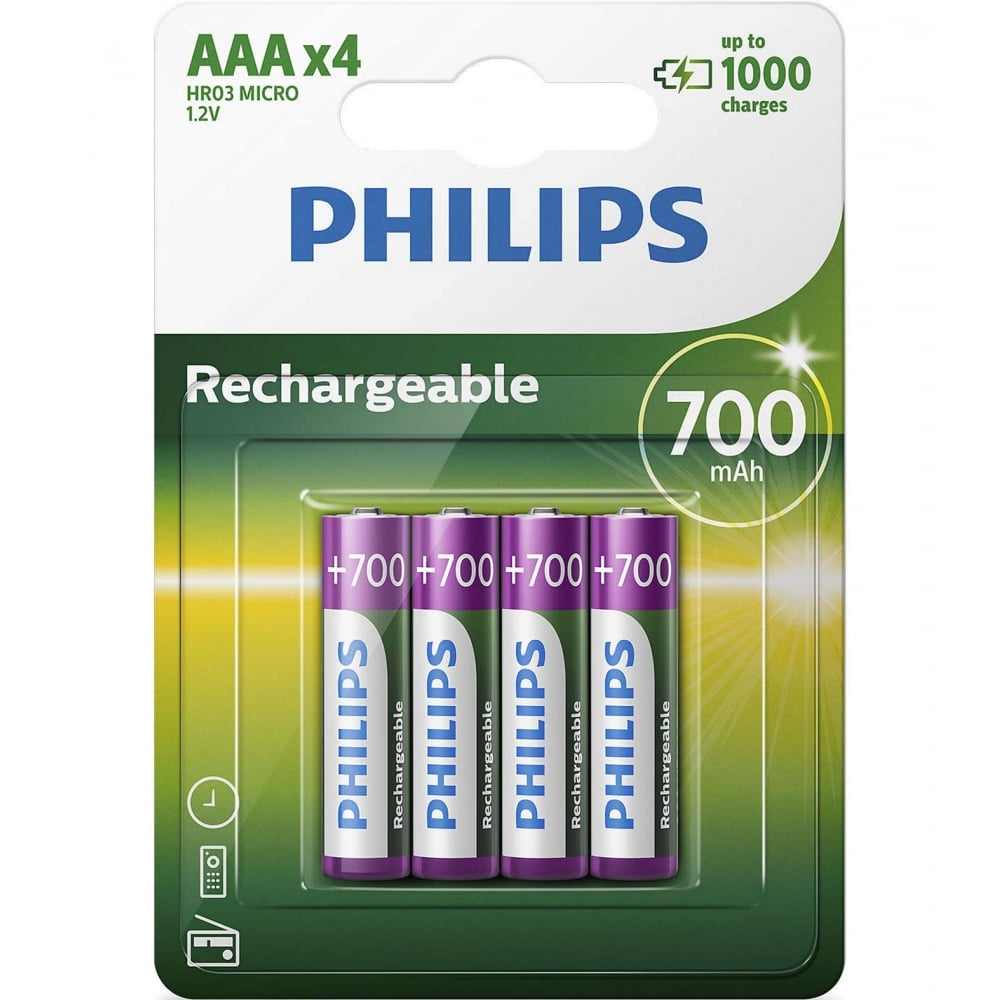 4 AAA 700mAh NiMH Rechargeable Batteries