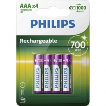 4 AAA 700mAh NiMH Rechargeable Batteries - Battery Pack of Four