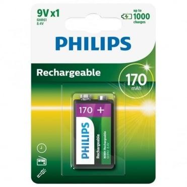 PP3 9V Type 170mAh NiMH Rechargeable Batteries - Battery 6HR61