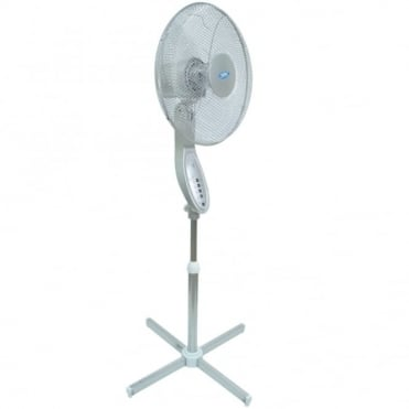 "16"" (40 cm) Silver Pedestal Fan with Remote Control and 7.5hr Timer"