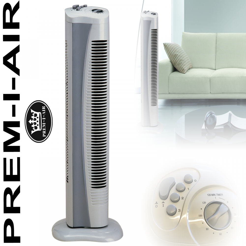 Silent Fans For Bedroom: Slim Tower Fan With 3 Speed Settings & 2 Hour Timer