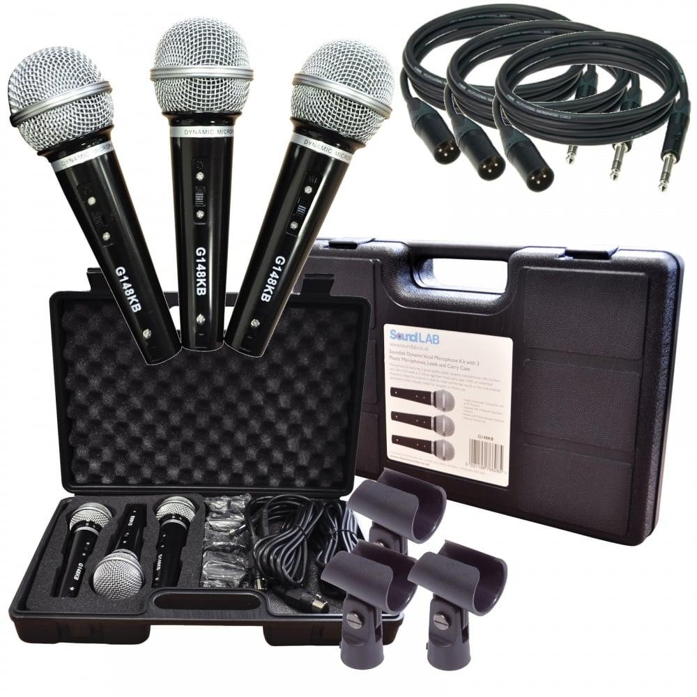 soundlab karaoke dynamic vocal microphone kit 3 mic holders leads case bnib ebay. Black Bedroom Furniture Sets. Home Design Ideas