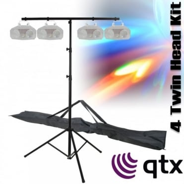 4 x Twin Lens LED Moonflower Lighting Effects Party DJ Light inc TBAR & Case