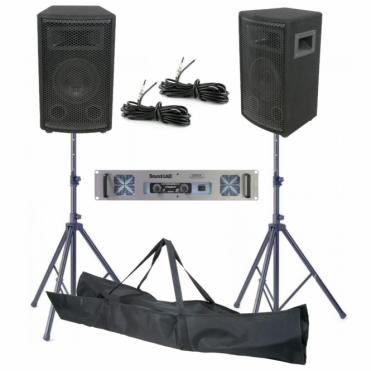 "6"" Inch 200W DJ PA Disco House Party Speaker Amp Kit With Stands"
