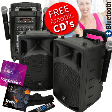 Battery & Mains Portable Aerobics PA Set With Bluetooth & CD/DVD Player