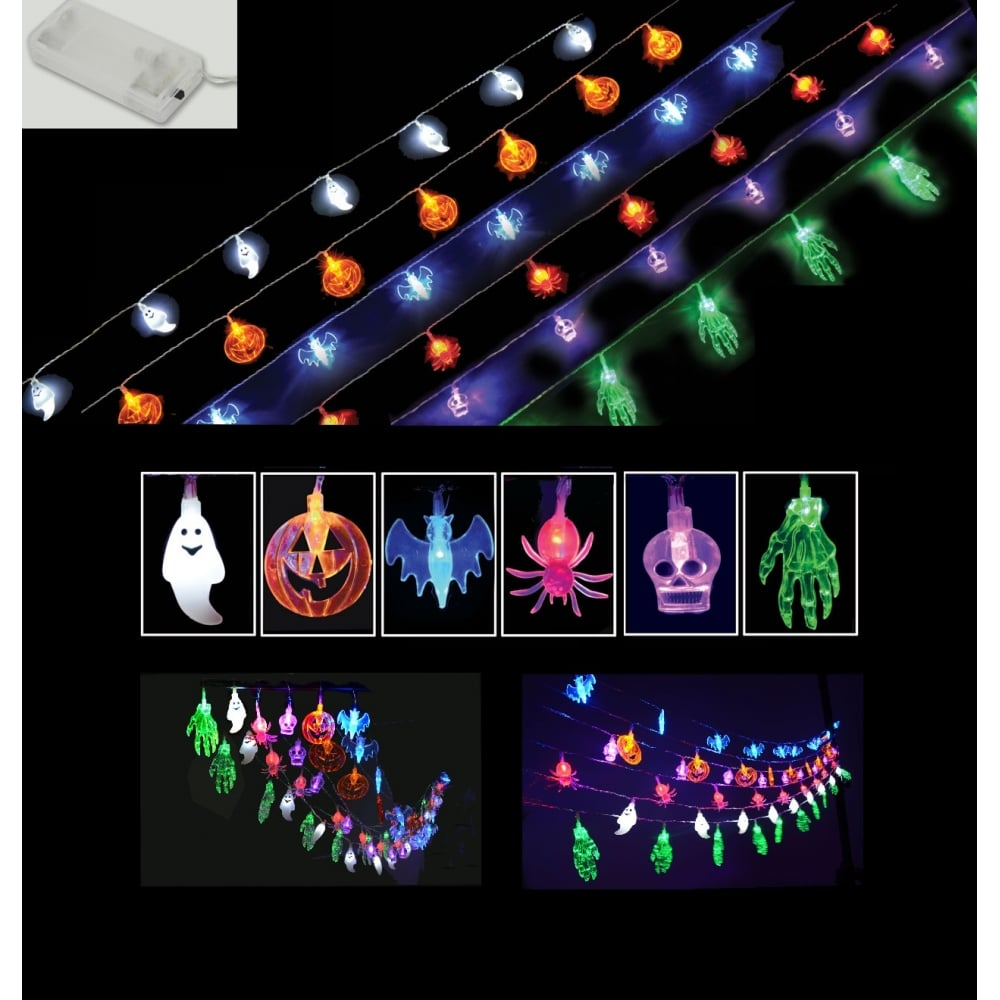 Halloween String Lights Indoor : Halloween Party String Lights - Ghosts Pumpkins Bats Spiders Skulls