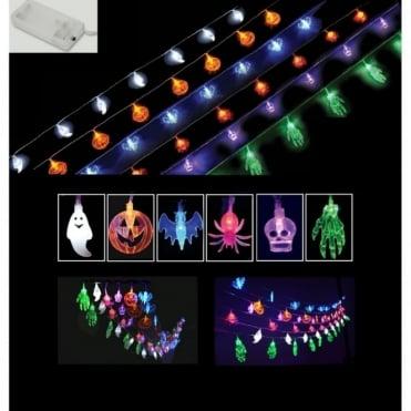 Halloween Party String Lights - Ghosts Pumpkins Bats Spiders Skulls Monster Hands