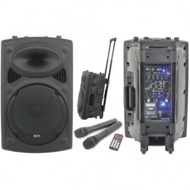 "QR-Series Portable 15"" PA Unit Twin VHF Radio Mics Integral USB SD inc Remote"