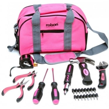 25pc Ladies Pink Tool Set inc Screwdrivers Pliers Wrench Hammer & More