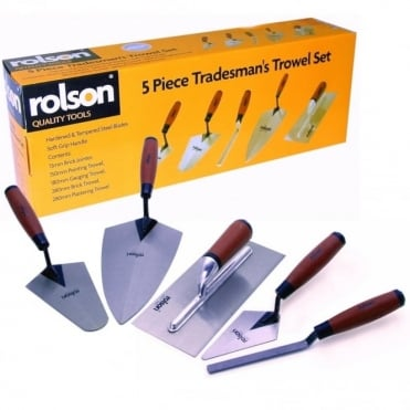 5 Piece Builder Tradesman Trowel Set - Brick Laying - Plastering 5pc