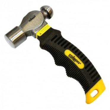 8oz Stubby Ball Pein Hammer with Soft Rubber Grip Handle