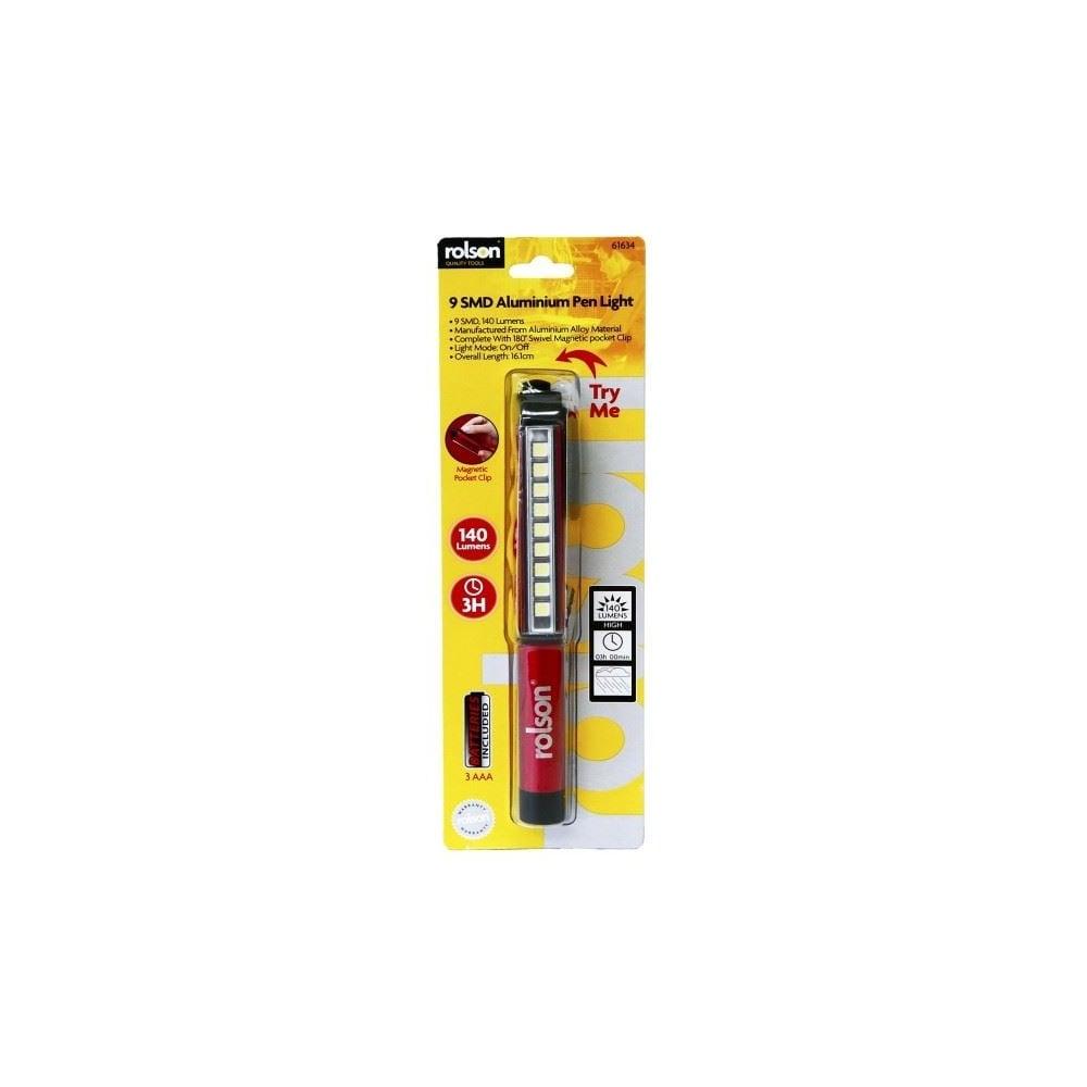 9 SMD LED Super Bright 140 Lumens Aluminium Pen Light Torch 180 Degree Magnetic