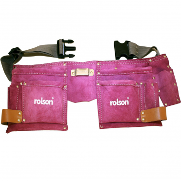 Multi Purpose Double Stitched Leather Tool Belt Pouch - Pink