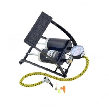Steel Twin Cylinder Guage Foot Pump For Car & Bike Tyres and Footballs
