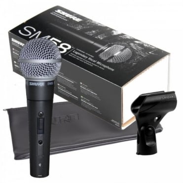 SM58S Switched Dynamic Vocal Microphone Inc Microphone Stand Clip and Pouch Bag
