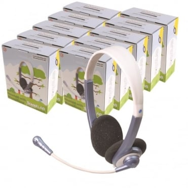 10 x Lightweight Junior Multimedia Headphones + Microphone - Primary School IT