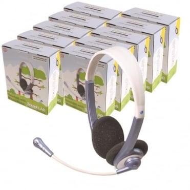 10 x Lightweight Junior Multimedia Headphones  + Microphone - Primary School IT