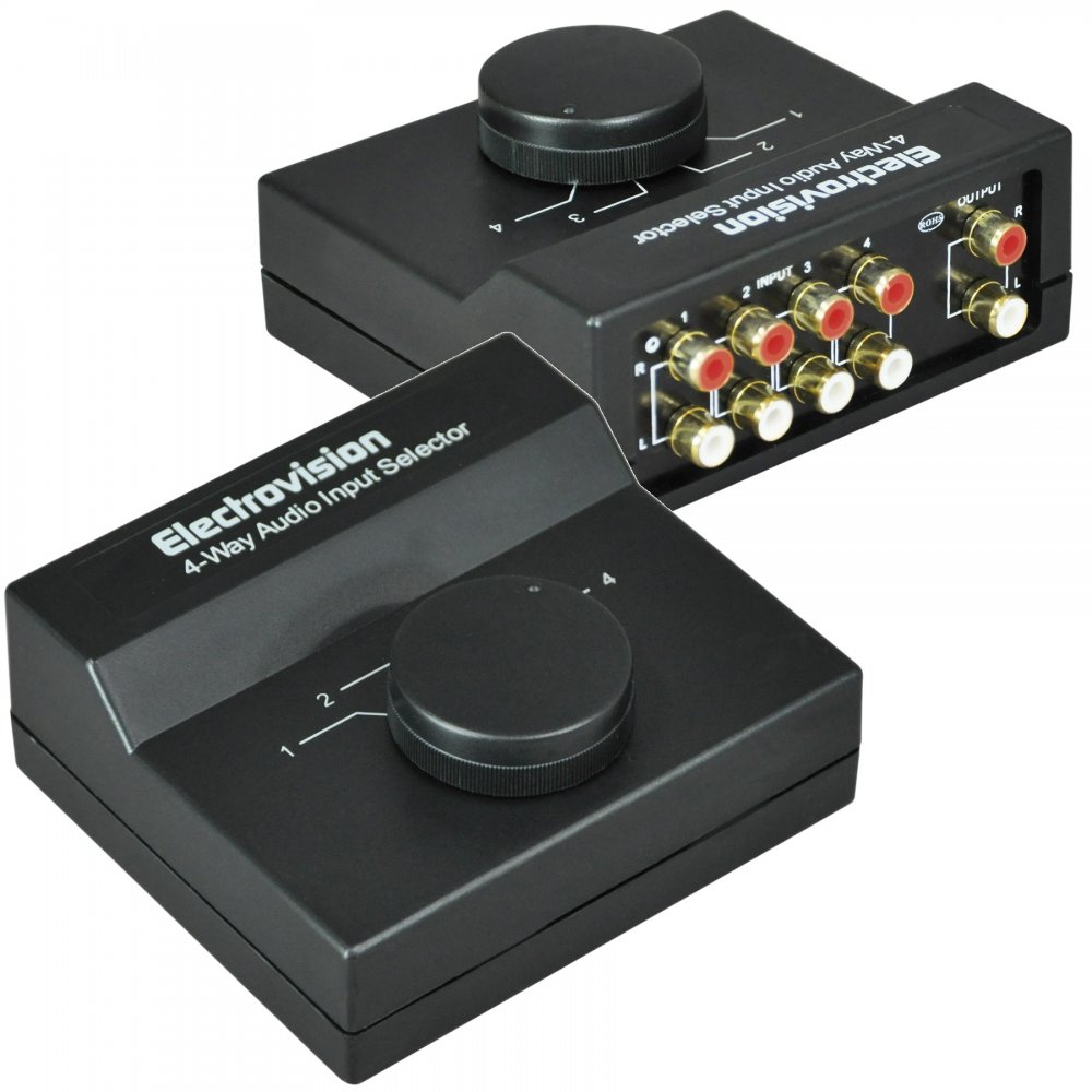Soundlab 4 Way Stereo Audio Input Selector Switcher