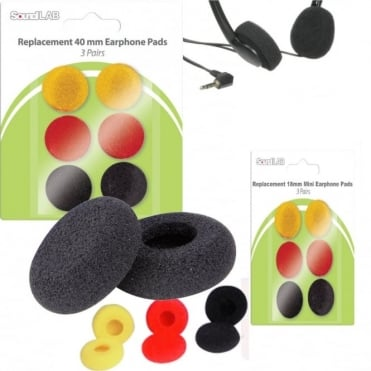 40mm & 18mm Replacement Foam Headphone Earphone Pads Pack of 6