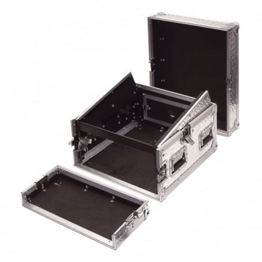 6U Full Flight Rack Case with 10U Mixer Top Silver Alloy Finish