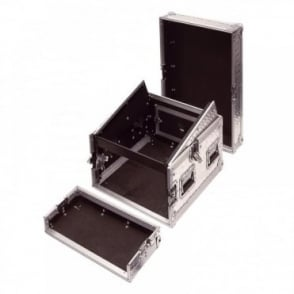 8U Full Flight Rack Case with 10U Mixer Top Silver Alloy Finish