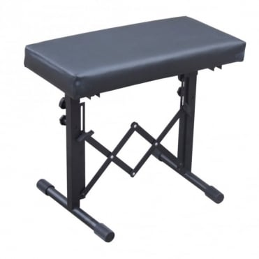 Adjustable Black Keyboard / Drum Bench with Padded Seat