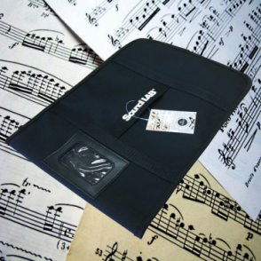 Black Canvas Sheet Music Bag with Velcro Fastening, Name Slot & Carry Handle
