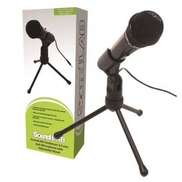 Budget Condenser Microphone 3.5mm Stereo Jack inc Stand For PC or Laptop