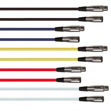 Coloured 3 Pin XLR Male Plug to Female Socket Microphone Lead 6M