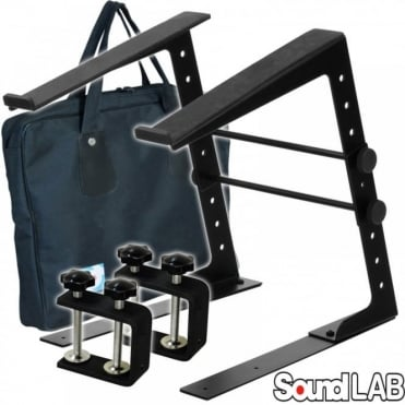 Height & Width Adjustable DJ Laptop Stand Computer Table Clamps inc Case