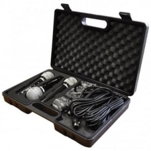 Karaoke Dynamic Vocal Microphone Kit 3 Microphones, Holders, Leads & Case
