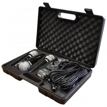 Karaoke Dynamic Vocal Microphone Kit 3 Microphones, Holders, Leads & Case