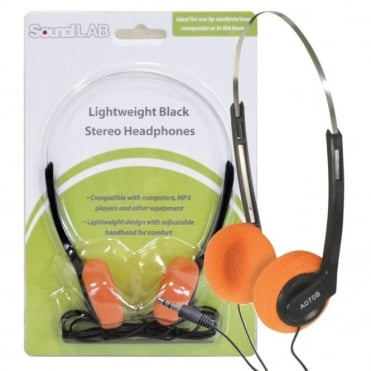 Lightweight Stereo Orange Pad Headphones for Schools Tour Companies