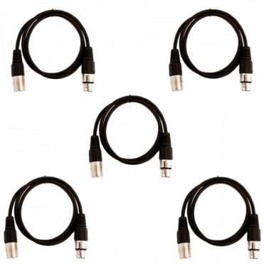 Pack of 5 Black 3 Pin XLR Line Female Socket to Male Plug Patch Lead 1M