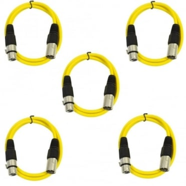 Pack of 5 Yellow 3 Pin XLR Line Female Socket to Male Plug Patch Lead 1M